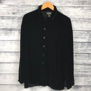 Eileen Fisher Black Velvet Button Down Sweater (L)